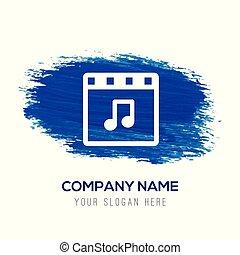 Music Symbol Icon - Blue watercolor background