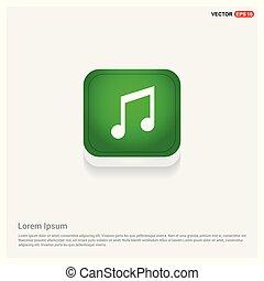 Music Symbol icon Green Web Button
