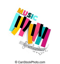 Music Symbol with Colorful Piano Keyboard and Staff on White Background. Vector Pop Song Design.