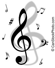 Music symbols, signs and notes to represent musical world
