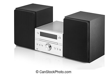 music system on a white background