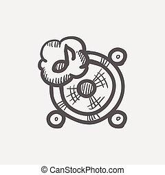 Music tambourine sketch icon