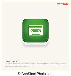 Music tape icon Green Web Button