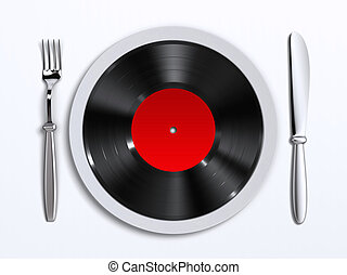 Music taste - A dish with vinyl record