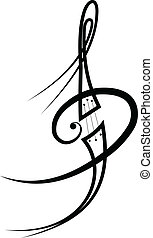 music tattoo - Vector - Vector scroll ornament