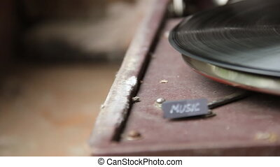 Music text and old gramophone
