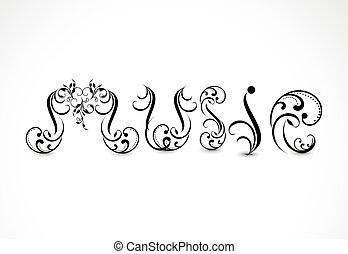 music text background in floral concept .eps