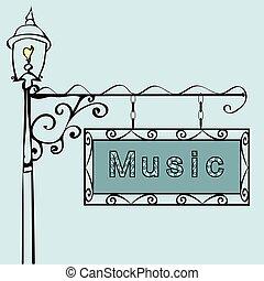 music text on vintage street sign