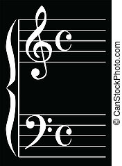 Music - The bass and treble clef over a black background