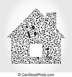 The house made of musical notes. A vector illustration