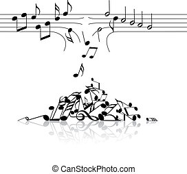 Music theme - broken links with notes on white background