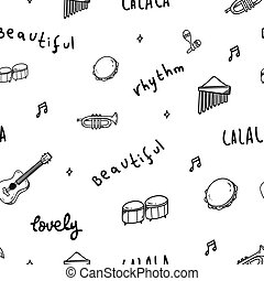 Music theme doodle seamless background