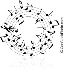 Music theme black notes on white background - circle