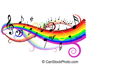 Music theme - notes on white background with rainbow