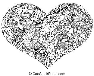 Music theme. Hand drawn music heart. Doodle heart with musical instruments. Made by trace from personal sketch.
