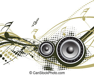 Music notes with halftone wave lien background