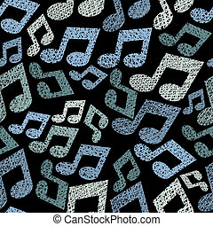 Music theme seamless pattern with notes, repeating vector backgr