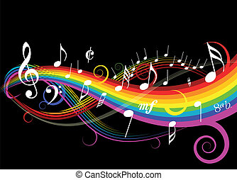 Music theme with rainbow