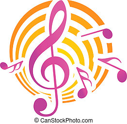 Music themed motif in yellow and pink - Treble clef musical...