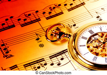 Music Time - Sheet Music and  a Pocket Watch