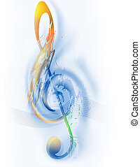 Music - Treble Clef - Digital Art, Blue and orange colors,...
