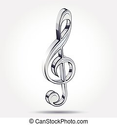 Music treble clef on a white background with a shadow