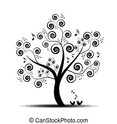 Abstract art tree with music notes and lovely birds