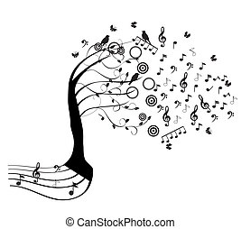 Music Tree - vector tree with musical notes