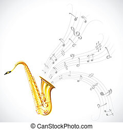 Music Tune from Saxophone - illustration of wavy music tune...