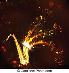 Music Tune from Saxophone - illustration of wavy music tune ...