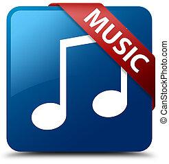 Music (tune icon) blue square button red ribbon in corner