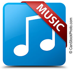 Music (tune icon) cyan blue square button red ribbon in corner