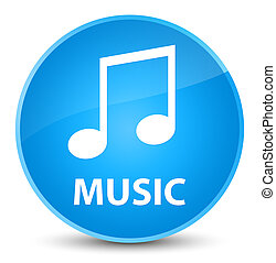 Music (tune icon) elegant cyan blue round button