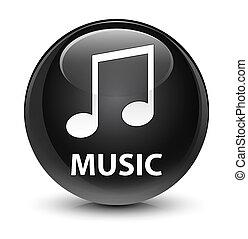 Music (tune icon) glassy black round button