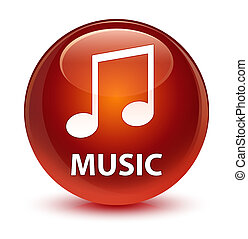 Music (tune icon) glassy brown round button