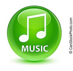 Music (tune icon) glassy green round button
