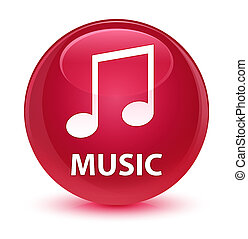 Music (tune icon) glassy pink round button
