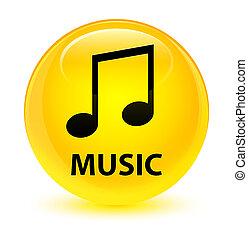 Music (tune icon) glassy yellow round button