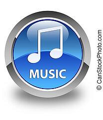 Music (tune icon) glossy blue round button