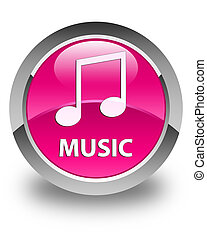 Music (tune icon) glossy pink round button