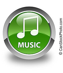 Music (tune icon) glossy soft green round button