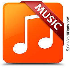 Music (tune icon) orange square button red ribbon in corner