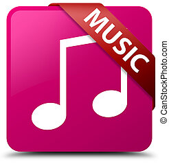 Music (tune icon) pink square button red ribbon in corner