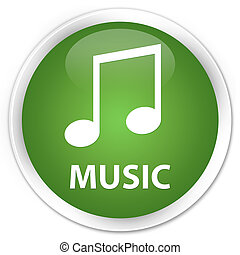 Music (tune icon) premium soft green round button