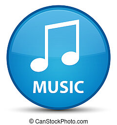 Music (tune icon) special cyan blue round button