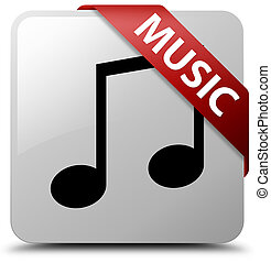 Music (tune icon) white square button red ribbon in corner