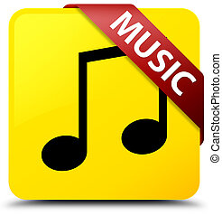 Music (tune icon) yellow square button red ribbon in corner