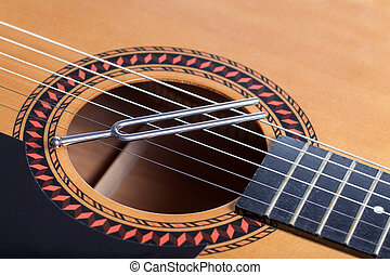 acoustic guitar strings close up and low level of acoustic guitar strings over the rosette. Black Bedroom Furniture Sets. Home Design Ideas