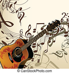 Music vector background with guitar