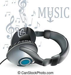 Music vector background with headphones and notes for design